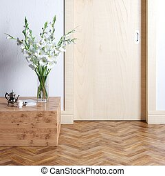 Wooden door and part of new luxury inteior with coffee table...