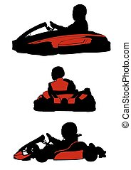 Carting - Sillhouette sport cart on white background