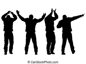Champion - Silhouette of athletic men on a white background