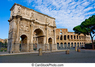 Ancient Rome - The Colosseum and Trajan Arch, ancient Rome...