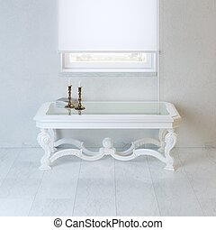 White empty room with baroque styl