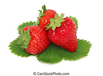 Three ripe strawberries with green leaves (isolated)