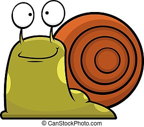Cartoon Snail Smiling - Cartoon illustration of a snail...
