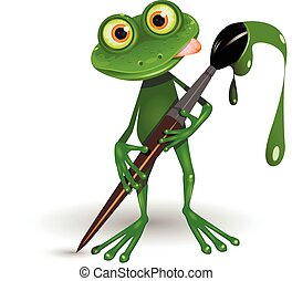 Frog with Paint - Illustration Green Frog with Brush with...