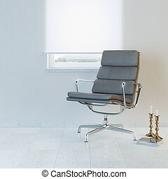Modern white room with office armc
