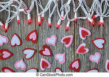 Valentines Day Top Down Background with Hearts and Lights