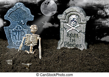 The Bone Yard - Skeleton leaning on a tombstone in the dirt.