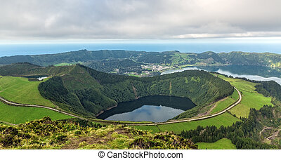 Beautiful View of the Crater of the Volcano is Covered by...