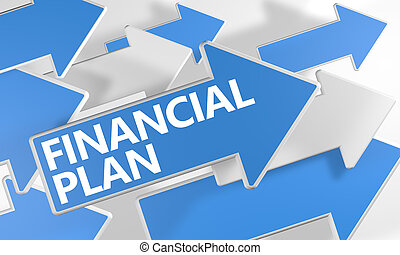 Financial Plan 3d render concept with blue and white arrows...