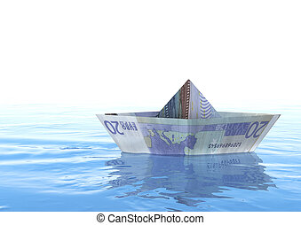 Euro Boat - Rendering of An twenty euro origami boat on the...
