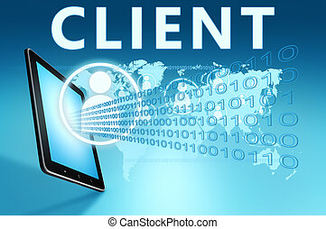 Client illustration with tablet computer on blue background