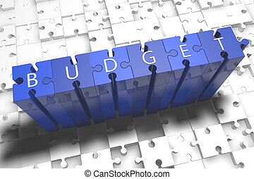 Budget - puzzle 3d render illustration with block letters on...
