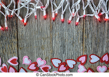 Valentine's Day Top Down Background with Hearts and Lights