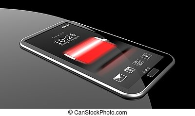 Smartphone with full battery indicator on screen isolated on black
