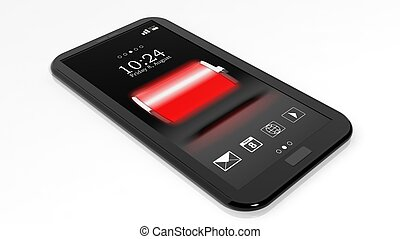 Smartphone with full battery indicator on screen isolated on...