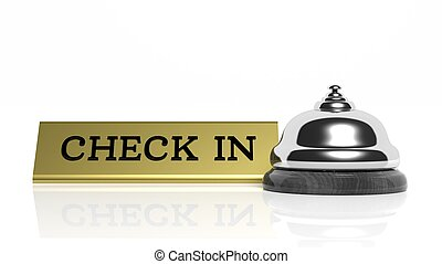 Hotel reception bell and Check in card isolated on white