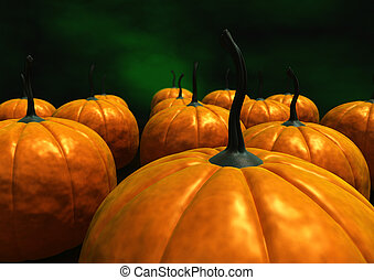 Pumpkins - view of a lot of orange pumpkins