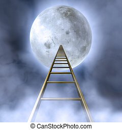 Stairs To The Moon - Fantasy Illustration of a cloudy night...