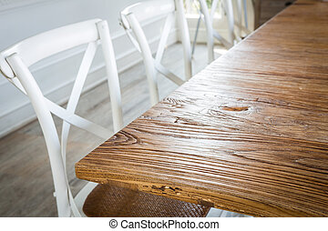Wood table at restaurant