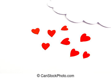 Paper heart shape with cloud symbol for Valentines day with...