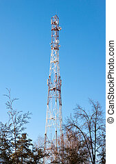Antennas on mobile network tower Global system for mobile...