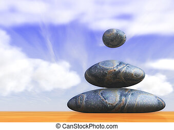 Three Magic Stones - Three magic stones with a soft cloudy...