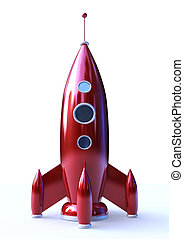 Red Missile - 3D rendering of a Rocket isolated on white...
