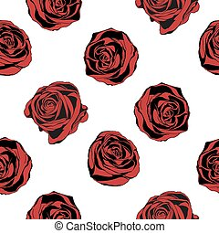 Seamless background with red roses. Vector