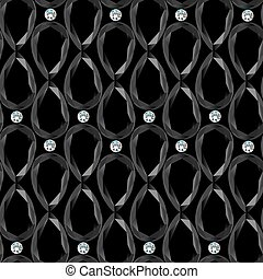 Black background with gemstones seamless pattern Vector