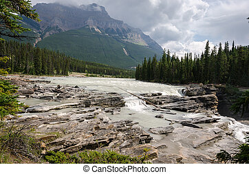 Athabasca waterfall on the Icefield Parkway in Canada