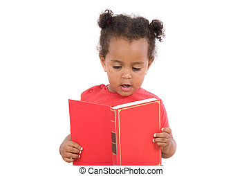 Baby reading sitting on a pile of books - Adorable african...