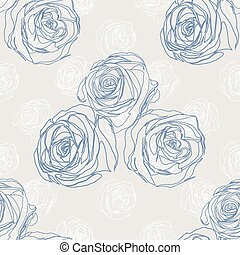 Seamless background with blue roses