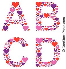 Hearty ABCD - Letters A, B, C, and D filled with colorful...