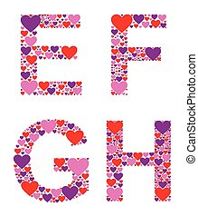 Hearty EFGH - Letters E, F, G, and H filled with colorful...