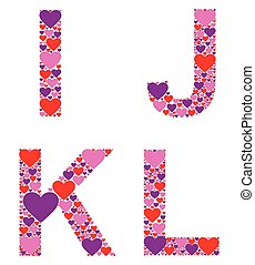 Hearty IJKL - Letters I, J, K, and L filled with colorful...