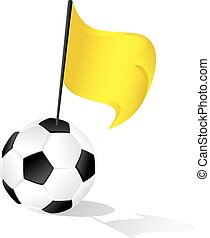 Soccer Ball or FootBall Yellow Warning Flag