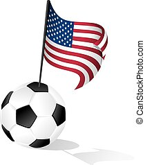 Soccer Ball or FootBall with Flag of  the United States