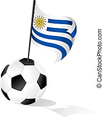 Soccer Ball or FootBall with Flag of Uruguay