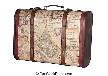 Suitcase - Leather suitcase, clipping path included.