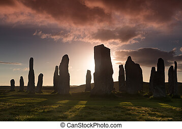 Sunset on Lewis - Megalithic stone circle of 3000 bc on the...