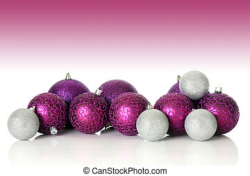 Purple Christmas ornaments, studio shot.