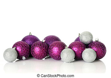 Purple Christmas ornaments, studio shot