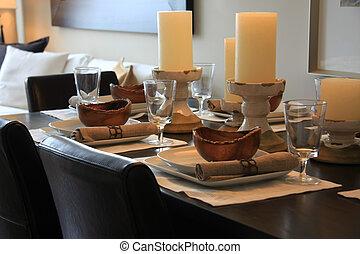 Elegantly set dining room table