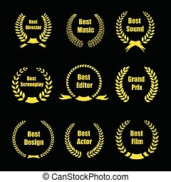 Vector Film Awards, gold award wreaths on black background -...