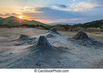 Mud Volcanoes - sunrise in the Mud Volcanoes. Buzau, Romania