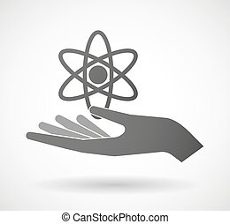 Hand giving an atom