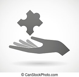 Hand giving a puzzle piece - Illustration of a hand giving a...