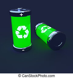 Ecological Batteries - Close-up of two green ecological...