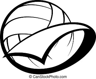 volleyball pennant - Stylized volleyball with a pennant...