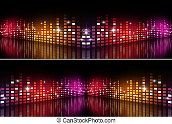 Music Multicolor Equalizer Banners - abstract music...